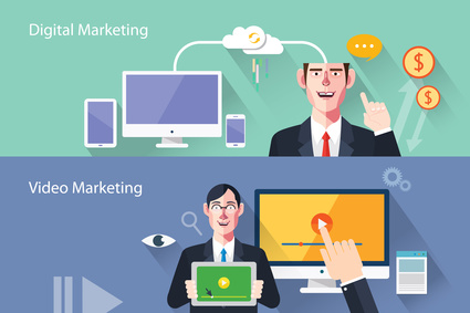 Flat characters of marketing concept illustrations